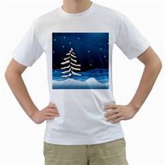 Christmas Xmas Fall Tree Men s T-Shirt (White)