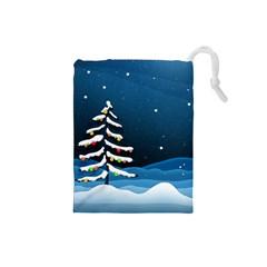 Christmas Xmas Fall Tree Drawstring Pouches (Small)