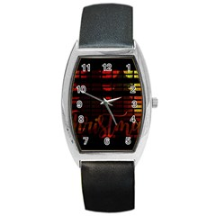 Christmas Advent Gloss Sparkle Barrel Style Metal Watch