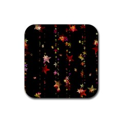 Christmas Star Advent Golden Rubber Coaster (Square)