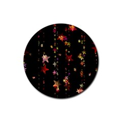 Christmas Star Advent Golden Rubber Round Coaster (4 pack)