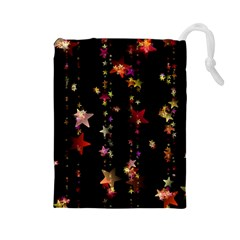 Christmas Star Advent Golden Drawstring Pouches (Large)