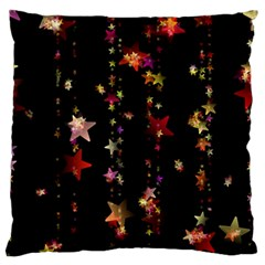 Christmas Star Advent Golden Large Flano Cushion Case (One Side)