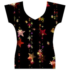 Christmas Star Advent Golden Women s V-Neck Cap Sleeve Top