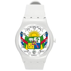 Coat of Arms of The Central African Republic Round Plastic Sport Watch (M)