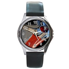 Classic Car Design Vintage Restored Round Metal Watch