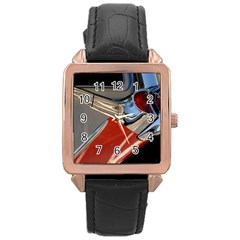 Classic Car Design Vintage Restored Rose Gold Leather Watch