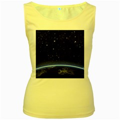 Christmas Xmas Night Pattern Women s Yellow Tank Top