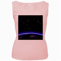 Christmas Xmas Night Pattern Women s Pink Tank Top