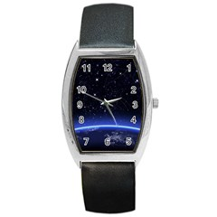 Christmas Xmas Night Pattern Barrel Style Metal Watch