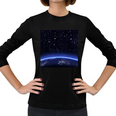 Christmas Xmas Night Pattern Women s Long Sleeve Dark T-Shirts