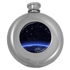 Christmas Xmas Night Pattern Round Hip Flask (5 oz)