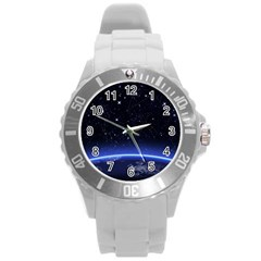 Christmas Xmas Night Pattern Round Plastic Sport Watch (L)