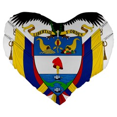 Coat of Arms of Colombia Large 19  Premium Heart Shape Cushions