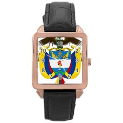 Coat of Arms of Colombia Rose Gold Leather Watch