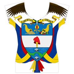 Coat of Arms of Colombia Women s V-Neck Cap Sleeve Top