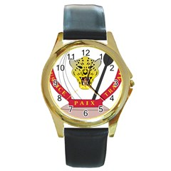Coat of Arms of The Democratic Republic of The Congo Round Gold Metal Watch