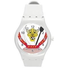 Coat of Arms of The Democratic Republic of The Congo Round Plastic Sport Watch (M)