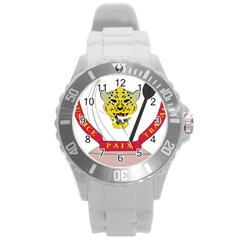 Coat of Arms of The Democratic Republic of The Congo Round Plastic Sport Watch (L)