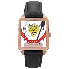Coat of Arms of The Democratic Republic of The Congo Rose Gold Leather Watch