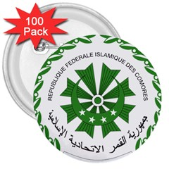 National Seal of the Comoros 3  Buttons (100 pack)