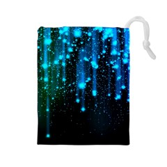 Abstract Stars Falling  Drawstring Pouches (Large)