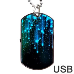 Abstract Stars Falling Dog Tag USB Flash (One Side)