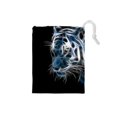 Ghost Tiger  Drawstring Pouches (Small)