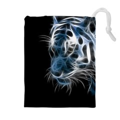 Ghost Tiger  Drawstring Pouches (Extra Large)