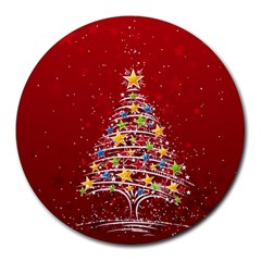 Colorful Christmas Tree Round Mousepads