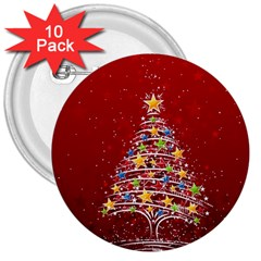 Colorful Christmas Tree 3  Buttons (10 pack)
