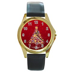 Colorful Christmas Tree Round Gold Metal Watch
