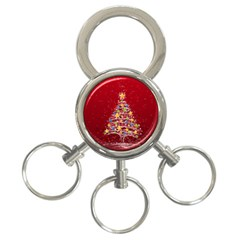 Colorful Christmas Tree 3-Ring Key Chains
