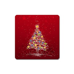 Colorful Christmas Tree Square Magnet