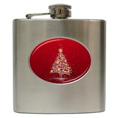 Colorful Christmas Tree Hip Flask (6 oz)