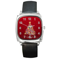 Colorful Christmas Tree Square Metal Watch