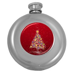 Colorful Christmas Tree Round Hip Flask (5 oz)