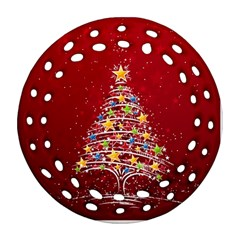 Colorful Christmas Tree Round Filigree Ornament (2Side)