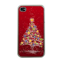 Colorful Christmas Tree Apple iPhone 4 Case (Clear)
