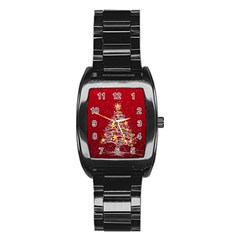 Colorful Christmas Tree Stainless Steel Barrel Watch