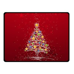 Colorful Christmas Tree Double Sided Fleece Blanket (Small)