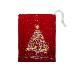 Colorful Christmas Tree Drawstring Pouches (Medium)