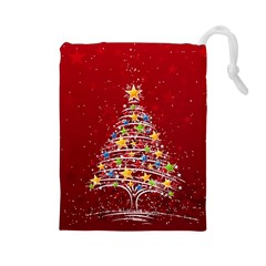 Colorful Christmas Tree Drawstring Pouches (Large)
