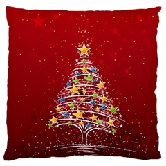 Colorful Christmas Tree Large Flano Cushion Case (Two Sides)