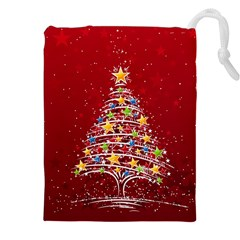 Colorful Christmas Tree Drawstring Pouches (XXL)