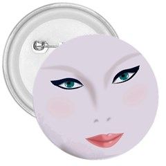 Face Beauty Woman Young Skin 3  Buttons