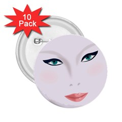 Face Beauty Woman Young Skin 2.25  Buttons (10 pack)