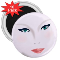 Face Beauty Woman Young Skin 3  Magnets (10 pack)