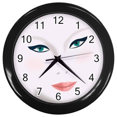 Face Beauty Woman Young Skin Wall Clocks (Black)