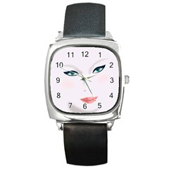Face Beauty Woman Young Skin Square Metal Watch